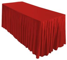 GHP 6' Red Fitted Table Skirt Cover w Top Topper Wedding Banquet Tablecloth
