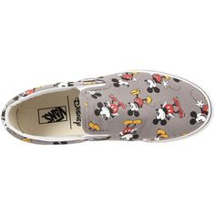 Vans Disney Classic Slip-On ((Disney) Mickey Mouse/Frost Gray) Skate... ($48) ❤ liked on Polyvore featuring shoes, sneakers, slip on skate shoes, grey slip on shoes, waffle trainer, grey sneakers and slip-on skate shoes
