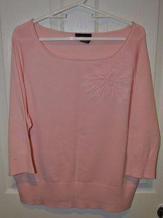 Lane Bryant Women's Pink Sweater w/Flower Applique Size 18/20 #LaneBryant #ScoopNeck