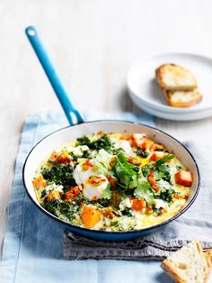 One-Pan Sweet Potato & Kale, a colourful and hearty dish perfect for breakfast or anytime of the day!  www.hydroproduce.com.au