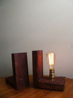 Bookend Edison lamp table lamp reclaimed wood lamp by JRustic Reclaimed wood light fixture, mason jar, rustic, barnwood, edison bulbs