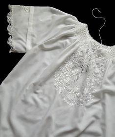 Vintage folk embroidery white on white shirt blouse size L Folk Embroidery, White Shirts, All About Fashion, Shirt Blouses, Lace, Cotton, Vintage, Etsy, Tops