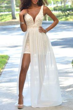 Crochet Flower Chiffon Spliced Prom Dress