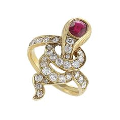 Antique Russian Ruby Diamond Gold Serpent Ring | From a unique collection of vintage more rings at https://www.1stdibs.com/jewelry/rings/more-rings/
