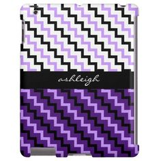 Personalized iPad case, black, white, purple & lilac chevron pattern, add your name on the black ribbon across the center. Select CUSTOMIZE to see other device case options with this design.