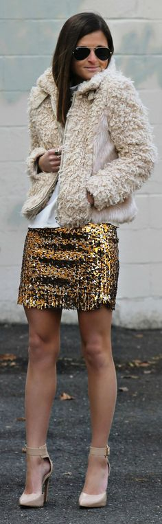 Chic In The City- Gold Sequin Mini Skirt- #LadyLuxuryDesigns