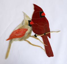 Obsession Art Glass Stained Glass Cardinals