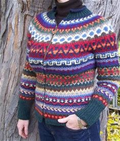 These are good colors for a cardigan. The pattern is way to busy for me. But in stripes or tame fairisle? Fair Isle Knitting, Knitting Yarn, Knitting Patterns, Trees To Plant, Men Sweater, Stripes, My Style, Knits, Plants