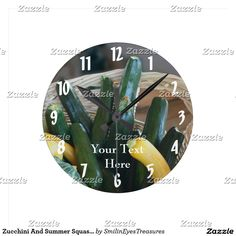 Zucchini And Summer Squash Nature Round Clock.  From Smilin' Eyes Treasures at Zazzle.