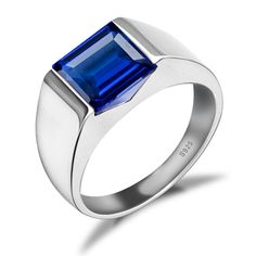 Jewelrypalace Men's 3.4ct Square Created Blue Sapphire 925 Sterling Silver Ring Size 11