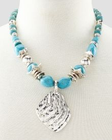 Turquoise-Look Nugget Necklace with Wavy Silver Tone Pendant, Get awesome discounts up to Off at Stein Mart using Mother's Day Promo Codes. Mother's Day Special Gifts, Fashion Necklace, Beaded Necklace, Turquoise, Pendant, Awesome, Bracelets, Silver, Stuff To Buy