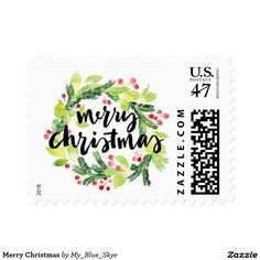 Merry Christmas green wreath red holly berries custom Postage Stamps.