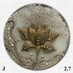 """Antique Lacy Type Silver Luster Plant Life Button 7//8/"""" Medium Size"""