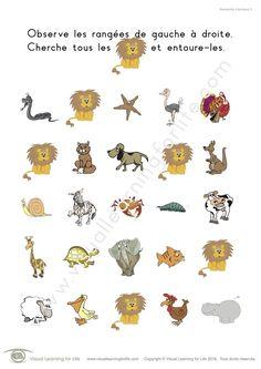 Dans les fiches de travail « Recherche d'animaux » l'élève doit trouver tous les animaux identiques à ceux de l'exemple en haut de la page.