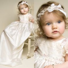 81.70$ Watch here - http://alic2n.worldwells.pw/go.php?t=32625842217 - New Lolita Baby Infant Christening Dress Boys Girls White Ivory Baptism Gown Lace Applique With Headband