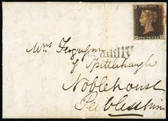 """Great Britain 1840 1d black. Great Britain. 1840 One Penny Black. Plate Ib. PG constant variety, large to very large margins all round, tied by red Maltese Cross cancellation to entire letter, dated 27 July 1840 to Noblehouse Peebleshire, with black """"piccadilly"""" below, dated markings on reverse; scarce and attractive."""