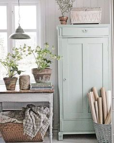 Painted Linen Cabinet - painted with Fusion Mineral Paint in the color 'Inglenook' - via Vibeke Design Home Decor Styles, Farmhouse Decor, Farmhouse Remodel, Cottage Decor, Swedish Decor, Country Style Homes, Country House Decor, Shabby Chic Homes, Rustic House