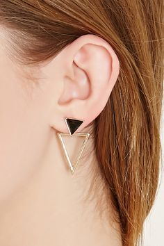A pair of drop earrings featuring a cutout geo-shaped design with a faux gem, a high-shine finish, and a post back.