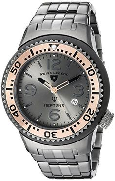 Men's Wrist Watches - Swiss Legend Mens 21848PGM104RB Neptune Force Analog Display Swiss Quartz Grey Watch * See this great product.