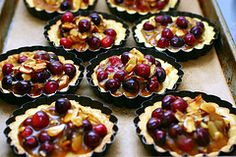 cranberry, caramel, and almond tart. 3 of my favorite foods together. Via Smitten Kitchen :)