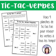 Verb Games, Tic Tac Toe, Voici, Parfait, Printables, Tenses Of Verbs, Game Boards, Second Language, Grammar