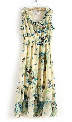Bohemian butterfly print long sleeveless chiffon dress with layered hemline and ruffled neckline cum sleeve line.