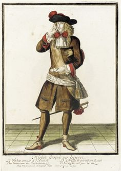 Recueil des modes de la cour de France, 'Habit Despeé en Biuer'  Nicolas Bonnart (France, 1637-1717)  France, Paris, circa 1682  Prints  Hand-colored engraving on paper
