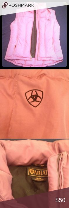 Ariat Goose Down Puffer Vest NWOT. Pink color with black lining and black embroidered logo. Ariat Jackets & Coats Vests
