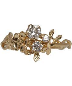 Alex Monroe Baby Gold Wild Rose Diamond Ring | Jewellery by Alex Monroe | Liberty.co.uk