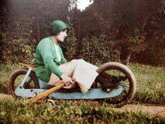 "Jacques Henri Lartigue's Simone Roussel Driving The ""Two-Wheeled Bob"", 1913 (via here) Cannes Francia, Art Advisor, Bob, Henri, Paris Art, French Photographers, Global Art, Wheelbarrow, Museum Of Modern Art"