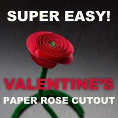 Valentine's paper rose cutout