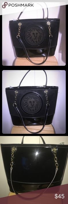 Anne Klein Black Suede & Patton Logo Lion Bag Excellent condition Anne Klein Black Suede with gold hardware satchel  . Logo lion motif at front face. Very roomy and clean ! Anne Klein Bags Satchels