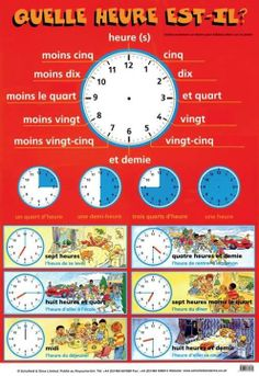 FLE/ Learning French- Telling the time/ Hours- Dire l'heure- Les heures French Language Lessons, French Language Learning, French Lessons, German Language, French Basics, French For Beginners, Gcse French, Study French, French Verbs
