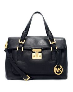 MICHAEL Michael Kors Gosford Large Satchel, Black #handbag #purse #satchel #shoulderbag #glam #fashion #style #beauty #fab #fabulous #couture #loveit #fashionista #stylista