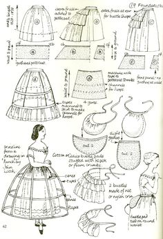 Victorian underpinnings (under garments) man I can't wait to have the excess time/money to make all these for myself!Victorian underpinnings (Hoops could be made with plastic tubs and midi tape.Victorian underpinnings were very big at that time, wome Costume Patterns, Doll Clothes Patterns, Doll Patterns, Vintage Patterns, Clothing Patterns, Vintage Sewing, Dress Patterns, Sewing Patterns, Historical Costume