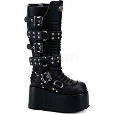 Demonia Ripsaw 520 - Black PU with FREE Shipping & Returns. This gothic inspired boot features a metal rivet design and multiple straps