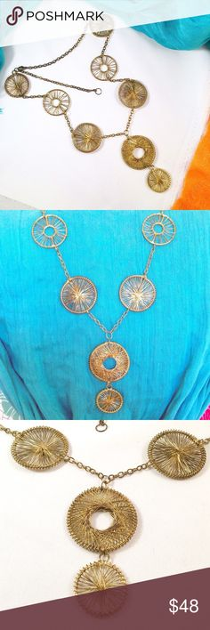 """GOA Dreamcatcher Modernist Statement Necklace Beautiful long statement necklace meant to look like a series of dream catchers. 24"""" long adjustable with a 3"""" pendant. Gold plated wiring with an aged patina (this is not tarnish, it's made to look this way)---see photos. I am wearing the necklace in its shortest setting🌹 Rosena Sammi Jewelry Necklaces"""