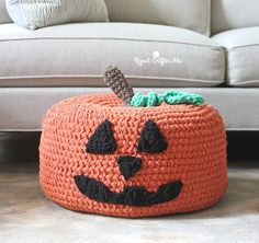 Crochet Jack-O-Lantern Pumpkin Pouf. Free pattern. Great for a fall crochet project.
