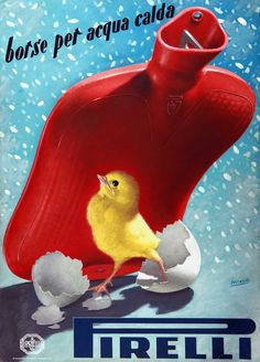 Vintage Italian Posters ~ Gino Boccasile, advertisement for Pirelli hot water bottles, 1952