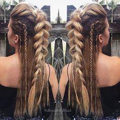 hairstyles for long hair hair vikings hairstyles for white girls to braid hairstyles for short hair hairstyles homecoming hairstyles real hair braided hairstyles hairstyles romantic Pretty Hairstyles, Easy Hairstyles, Hairstyle Ideas, Viking Hairstyles, Wedding Hairstyles, Hairstyle Braid, Mohawk Braid, Long Hair Mohawk, Hair Plaits