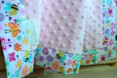 Busy Bees Snuggle Blanket pram size minky baby blanket by LukaMish, $40.00 #blanket #girl #butterfly #pink #flower #bee #spring
