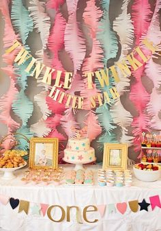 Pink And Gold Twinkle Little Star 1st Birthday Party First Year Birthday1 Ideas1year Old