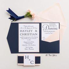 Elegant Wedding Invitation suite   coral and Navy Wedding invitations   blush and navy Wedding Invitations   nautical wedding   Hayley by ATGInvitations on Etsy https://www.etsy.com/listing/289233419/elegant-wedding-invitation-suite-coral