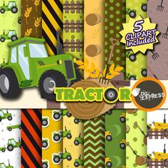 Tractor Clipart  Digital Paper : Tractor Paper Farm by DGexpress