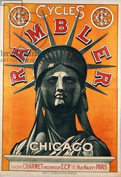 Poster advertising Rambler Cycles Chicago, printed by Lemercier, Paris, c.1900 (color litho)