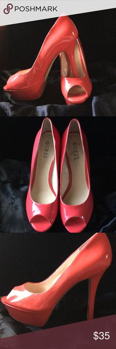 "Guess Peep Toe 👠👠 Great condition; worn once. Very sexy peep Heels. 5"" heel with 1.5"" platform. Some scuffing inside shoe- can't be seen when worn. See last pic.  Red has some orange -- pretty color. Guess Shoes Heels"