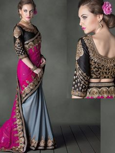 Tremendous Gray Colour Jiyara Georgette Saree