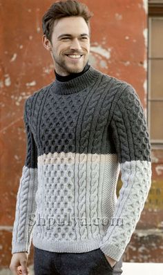 Gray mens sweater free patternYou can find Men sweater and more on our website. Mens Knit Sweater Pattern, Mens Cable Knit Sweater, Jumper Patterns, Men Sweater, Cardigan Pattern, Aran Knitting Patterns, Knitting Ideas, Knitting Stitches, Knitting Projects