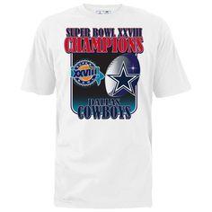 Dallas Cowboys On The Fifty Super Bowl XXVIII Champs T-Shirt - White