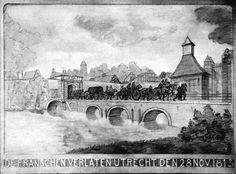 Het monument aan de Tolsteegbrug  Gedenkteken uit 1913: met de staart tussen de benen verlaat het Franse leger op een gure herfstdag (28/11/1813) de stad over precies diezelfde Tolsteegbrug waarover het in 1795 als overwinnaar, onder de leuze 'vrijheid, gelijkheid en broederschap', Utrecht binnentrok.